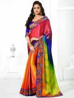MultiColor Jacquard Crepe Charming Designer Saree.  New Designer and New looks Saree. Online Shopping Latest Bollywood Designer Sarees from New Collection 2015..  Online shopping Bollywood  designer sarees, Receptions and parties with blouse piece from Latest designer Saree Collection 2015 at best price from surat, Gujarat's top online shopping and offline retail store.We ship worldwide|At Parisworld.in www.parisworld.in