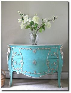 Gorgeous Bombe Chest Louis XV Rococo bombay commode Tiffany Turquoise Sea Blue White Painted Furniture