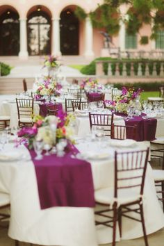 Elegant Purple White Wedding Reception. White tablecloths with just a runner accent, very dramatic visual effect.