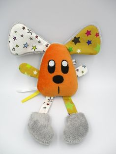 Doudou souris orange blanc jaune