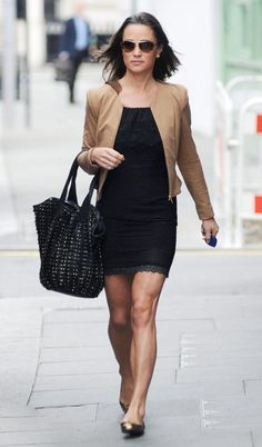 Pippa - Whistles tan leather jacket and black dress
