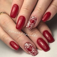 We have collected 2019 nail design in the most popular different colors for you. These nail models will suit you very well. We recommend that you apply one of the latest nail designs. Fancy Nails, Love Nails, Red Nails, Pretty Nails, Latest Nail Designs, Valentine's Day Nail Designs, Valentine Nail Art, Art Simple, Heart Nails