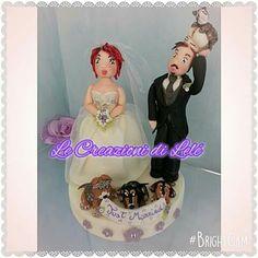 Topper cake sposini matrimonio porcellana fredda handmade