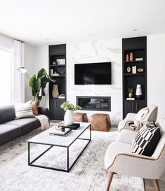 neutral modern living room with marble fireplace, black and white living room decor, Leclair Decor ( Living Room Modern, Home Living Room, Interior Design Living Room, Black Sofa Living Room Decor, Cozy Living, Cool Living Room Ideas, Modern Living Room Decor, Interior Livingroom, Living Room Decor Accents