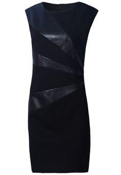 Black Sleeveless Contrast Leather Pattern Sheath Dress