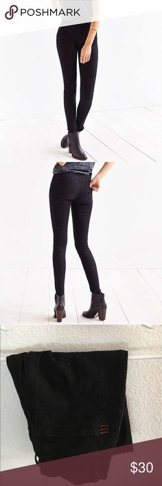High waisted twig black skinny jeans Size 27 long. From Urban Outfitters brand BDG. 33 inch inseam. Bought them through posh. Basically brand new. Previously seller only wore a handful of times. The seller had mislabeled and I bought them thinking they were a 29. Definitely did not fit me lol. My loss, your gain. BDG Jeans Skinny