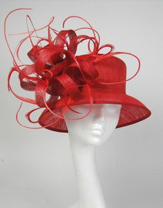 Red  Kentucky Derby or Wedding Hat by Hatsbycressida on Etsy, $240.00