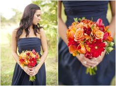 Dallas wedding photographer, orange flowers, bridesmaids bouquets, navy bridesmaid dress, fall wedding, College Station, TX, Mary Fields Photography:
