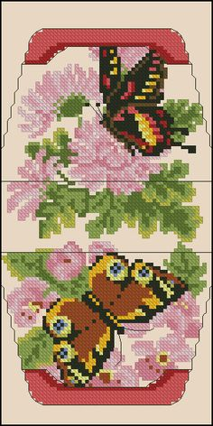 Cross-stitch Pink Flowers & Butterflies Purse... no color chart available, just use pattern chart as your color guide.. or choose your own colors...   Gallery.ru / Фото #1 - сумочки игольницы - irisha-ira