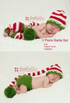 Baby boy hat, baby girl hat, crochet christmas outfit, first christmas, photo prop, baby shower gift, leg warmer, stocking cap, diaper cover