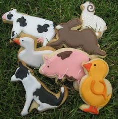 lawn with animals cookies   selection of farmyard animals designs on cookies (grass not included ...