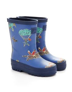 Joules Printed Welly, Cornish Blue.  £19.95