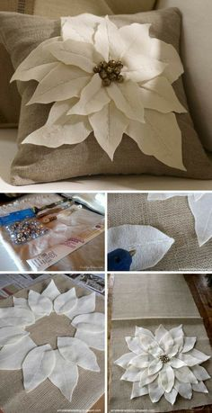 Easy DIY Decorative Pillow Tutorials & Ideas DIY Pottery Barn Inspired Felt Flowers Pillow The post Easy DIY Decorative Pillow Tutorials & Ideas appeared first on DIY Crafts. Sewing Pillows, Diy Pillows, Decorative Pillows, Pillow Ideas, Accent Pillows, Decorative Items, Fall Pillows, Couch Pillows, Diy Pillow Covers