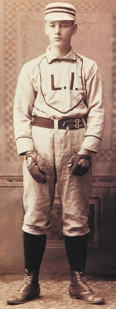 Catcher circa 1890. Note the fact that this player is wearing two gloves and the fingerless glove, used on the throwing hand, indicates that he threw left-handed, which perhaps not an odd site in the 19th century.