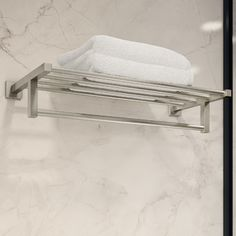 Duro 22 in. Towel Shelf in Satin Nickel, Silver X 23, Metal Shelves, Wall Shelves, Hang Towels In Bathroom, Bathroom Storage, Small Bathroom, Towel Shelf, Curtain Accessories, Wall Mounted Toilet