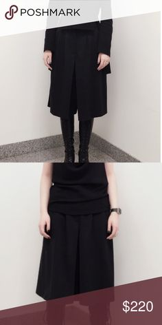 Dries Van Noten 100% wool Cullottes These Dries Van Noten culottes are awesome just too small for me now 😔 they are amazing have a layered look and Are flawless black!! Size 38 EURO pants so approx a 6 US. Dries Van Noten Pants Wide Leg