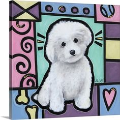 """Pop art and your favorite furry friends are the perfect combination! Take a look at all the canvas and wall decor options for Eric Waugh's """"Bichon Frise Pop Art"""" canvas print. Discover the entire Pop Art Dogs Collection at CanvasOnDemand.com."""
