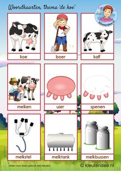 Woordkaarten 1 thema koe, kleuteridee, kleuters, cow theme Kindergarten.