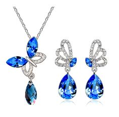 Silver Plated Royal Blue Crystal Butterfly Necklace And Earrings Set