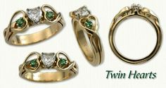14kt Celtic Twin Hearts Engagement Ring  - set with a heart shaped diamond and side emeralds   All Stones Available In Any Metal