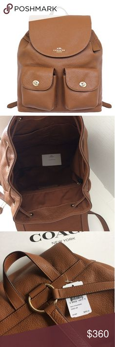 """Coach Leather Backpack ✔100% Brand new with tag and Authentic. 🛍Ready to ship!  Details: Very high quality coach product nside zip, cell phone and multi-function pocketstop flap with magnet closure and drawstring light gold plated color hardwarebrown fabric liningtop handle with 3 1/4 droptwo outside pockets with turn locks. Adjustable shoulder straps backpack.  Measurements  approx L 12""""x H 13"""" x W5""""  🚫No trade. Thank you Coach Bags Backpacks"""
