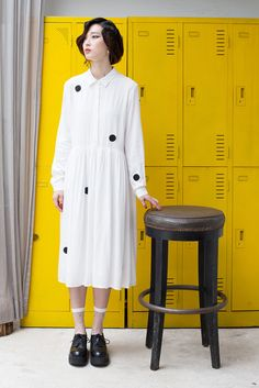 The White Pepper - Long Embroidery Shirt Dress White
