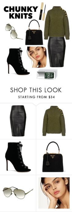 """""""Chunky Knits"""" by jamie-lyons ❤ liked on Polyvore featuring River Island, Boutique Moschino, Gianvito Rossi, Prada, Italia Independent, Couture Colour and Yves Saint Laurent"""