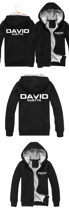 2017 Winter Casual Slim Fit Cardigans Thickening Jackets David Guetta Rock Band Men Hoodies Sweatshirts Hip Hop Punk Tracksuit