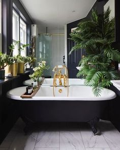 Green and gold (2/3) . Plants in bathrooms ✔️ . Design by @buchanan.studio  Photograph by @snookphotograph