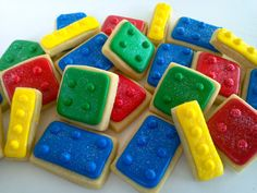 Lego Primary Colored Mini Cookies 3 Dozen by acookiejar on Etsy