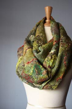 Nuno felted scarf wool silk | by VitalTemptation , Etsy