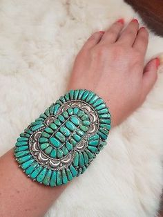 Huge Vintage Zuni Turquoise and Sterling Silver Cluster Cuff