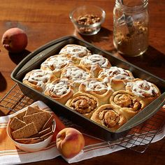 Flavors Cinnamon rolls are a beloved brunch staple, and for a good reason. They?re delicious! Add fruity peach to the mix and take your favorite breakfast pastry to the next level. Fresh Juicy Peach Flavor accents the caramelized, toasty bread, while the Warm Cinnamon Graham Flavor spices things up. It?s a whole new way to roll!