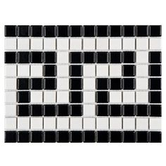 Merola Tile Metro Greek Key Matte White and Black Border 8 in. x 10-1/2 in. Porcelain Mosaic Floor and Wall Tile-FXLMMGKB at The Home Depot