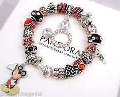 Authentic Pandora Silver Charm Bracelet with European Charm Disney Mickey Mouse - http://elegant.designerjewelrygalleria.com/pandora/authentic-pandora-silver-charm-bracelet-with-european-charm-disney-mickey-mouse/