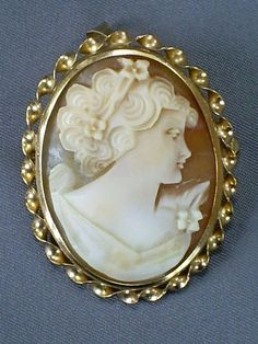 FINE 1970s VINTAGE 9CT GOLD MOUNT CARVED SHELL LADY CAMEO BROOCH/PIN OR PENDANT