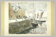 ROUART Henri : Quai dans un port, à marée descendante