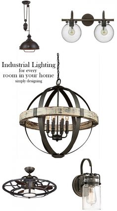 Here are the best industrial style lighting ideas for every room in your home. From floor lamps to ceiling fans and bathroom lighting, I am sharing it all. {ad} @bellacor Industrial Style Lighting, Farmhouse Lighting, Industrial Bathroom Lighting, Industrial Ceiling Fan, Home Lighting, Best Bathroom Lighting, Lighting Ideas, Lighting Design, Industrial Design, Log Projects, Chandeliers, Lights, Barbershop, Iron, Space, Little Cottages, Display, Industrial Interiors, Industrial Decorating, Barn