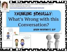 Do your students have difficulty knowing the right thing to say? Group Therapy Activities, Social Skills Activities, Teaching Social Skills, Language Activities, Therapy Ideas, Speech Language Therapy, Speech Language Pathology, Speech And Language, Expressive Language Disorder