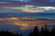 size: Photographic Print: City from Grouse Mountain at Sunset, North Vancouver, Vancouver, Canada by Lawrence Worcester : Travel Yosemite National Park, National Parks, North Vancouver, Beach Landscape, Canada Travel, Lonely Planet, Wonders Of The World, Places To Go, Scenery