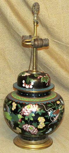 Old or Antique Chinese Cloisonne Jar Mounted as Lamp with Dragon