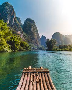 Bamboo rafting down the Li River Guilin China http://ift.tt/2jVGo3U