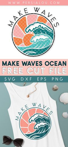 "Make your own adorable summer projects with this free ""Make Waves"" Retro Ocean SVG Cut File. You can use this design with your Cricut or Silhouette machine and create stylish t-shirts, wall art, decals, and more Silhouette Cameo Tutorials, Silhouette Projects, Silhouette Cameo Free, Silhouette Machine, Free Svg Cut Files, Svg Files For Cricut, Cricut Tutorials, Cricut Ideas, Vinyl Crafts"