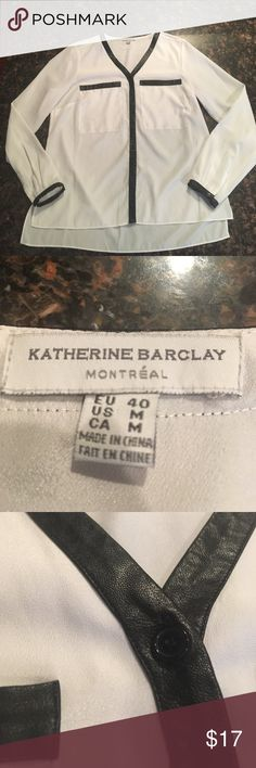 Pretty white faux leather trimmed blouse White comfy blouse with faux leather trim in size M. Perfect for work! Smoke free home Katherine Barclay Tops Blouses