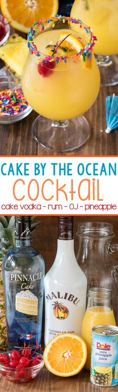 Celebrating a birthday on Emerald Isle? Whip up this Cake by the Ocean Cocktail! Cake by the Ocean Cocktail made with Cake Vodka, Coconut Rum, Orange and Pineapple Juices! You can whip up a pitcher of these in less than 5 minutes! Cocktail Cake, Cocktail Drinks, Cocktail Recipes, Margarita Recipes, Drink Recipes, Juice Recipes, Party Recipes, Easy Cocktails, Dinner Recipes