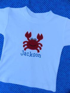 Red Crab Short Sleeve Shirt or Onesie - Personalized - Appliqued - Embroidered - Monogrammed. $24.00, via Etsy.
