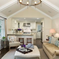 7 Stupendous Tips: Long Kitchen Remodel Counter Tops u shaped kitchen remodel range hoods.Small Kitchen Remodel With Table kitchen remodel gray floors.Mobile Home Kitchen Remodel Single Wide. Kitchen Open Concept, Living Room Ideas Open Concept, Off White Kitchens, Kitchen White, Kitchen Small, Compact Kitchen, Small Kitchen Family Room Combo, Ranch Kitchen, Narrow Kitchen