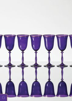 Elegant purple goblets with 24k gold bands.   Goblet (11 oz)