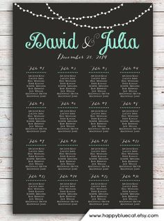 Wedding Seating Chart   FREE RUSH SERVICE 12 hours by HappyBlueCat