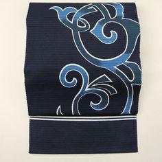 Navy nagoya obi / 【名古屋帯】リサイクル着物/藍色木綿地 染めの唐草柄 全通絽の八寸 夏物